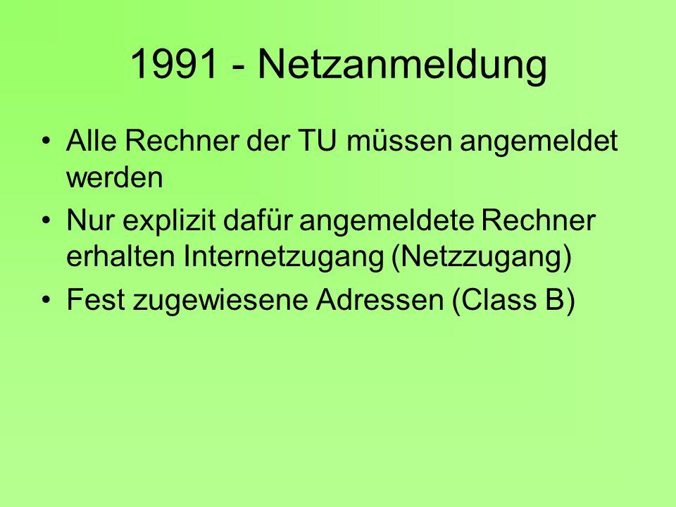 1991 - Netzanmeldung Alle Rechner der TU müssen angemeldet werden