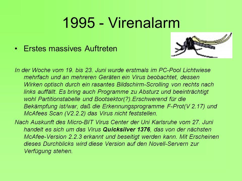 1995 - Virenalarm Erstes massives Auftreten