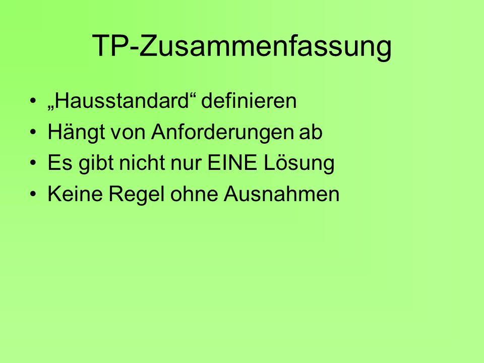 """TP-Zusammenfassung """"Hausstandard definieren"""