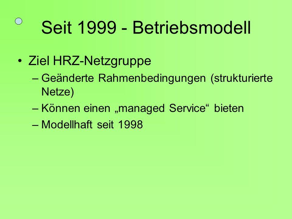 Seit 1999 - Betriebsmodell Ziel HRZ-Netzgruppe