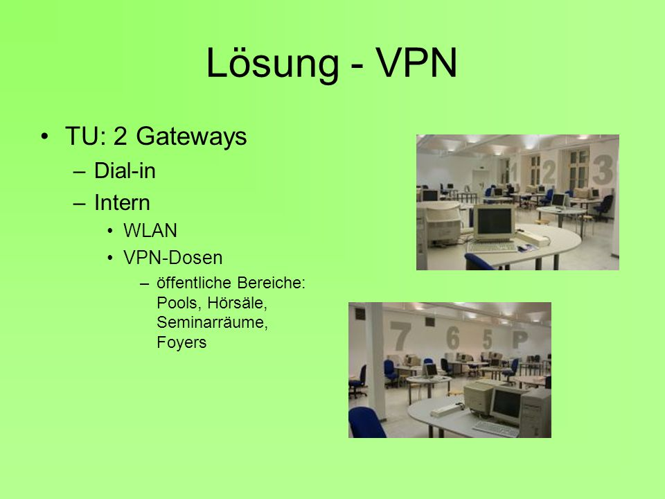 Lösung - VPN TU: 2 Gateways Dial-in Intern WLAN VPN-Dosen