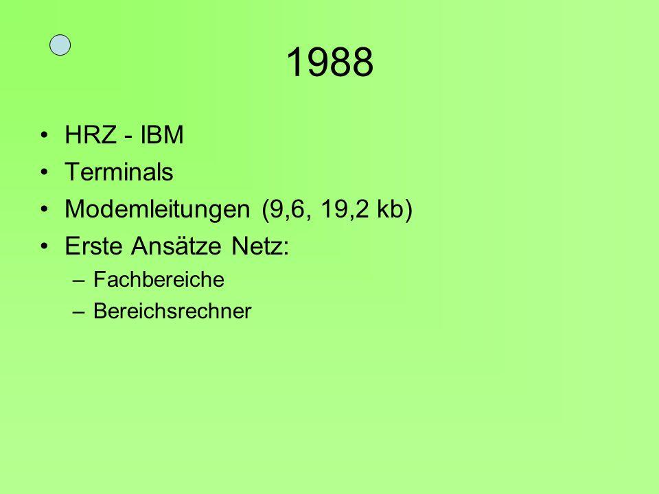 1988 HRZ - IBM Terminals Modemleitungen (9,6, 19,2 kb)