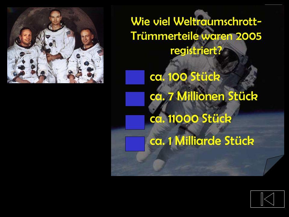 Wie viel Weltraumschrott-Trümmerteile waren 2005 registriert