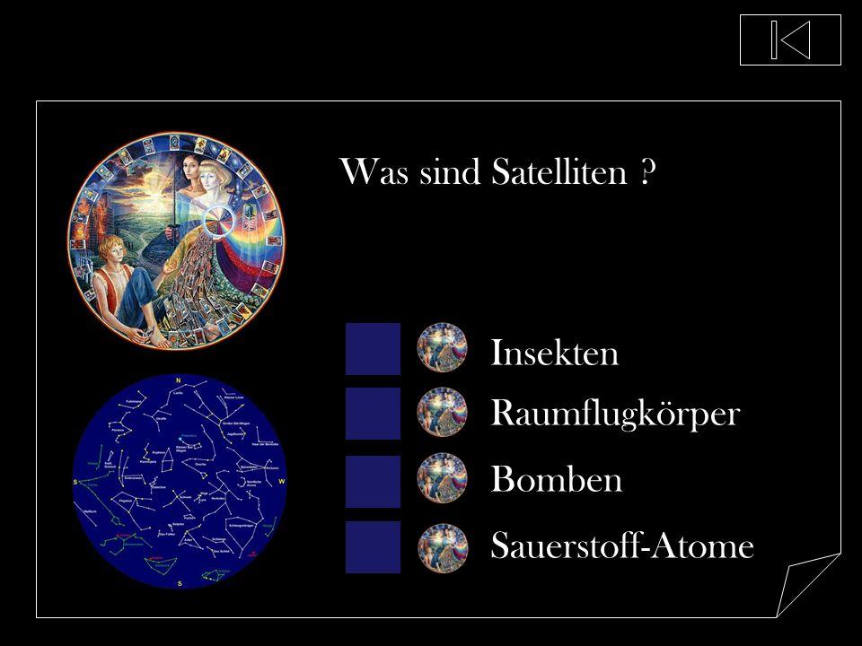 Was sind Satelliten Insekten Raumflugkörper Bomben Sauerstoff-Atome