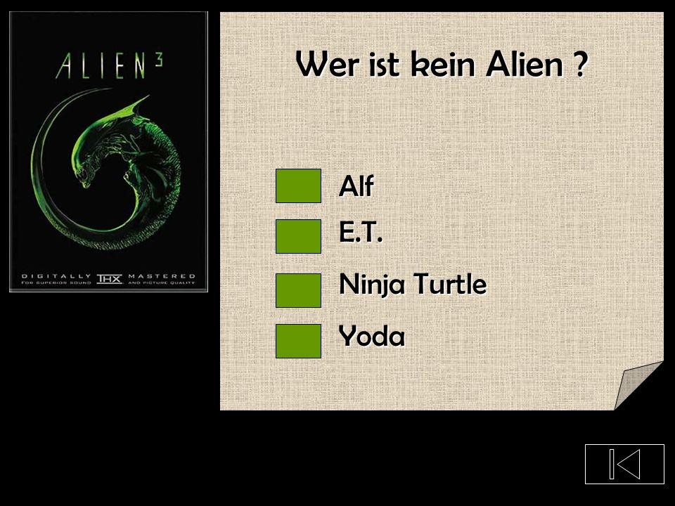 Wer ist kein Alien Alf E.T. Ninja Turtle Yoda