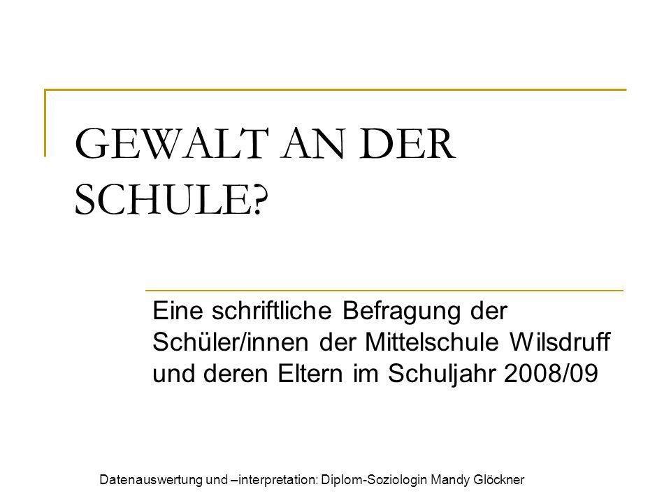 Datenauswertung und –interpretation: Diplom-Soziologin Mandy Glöckner