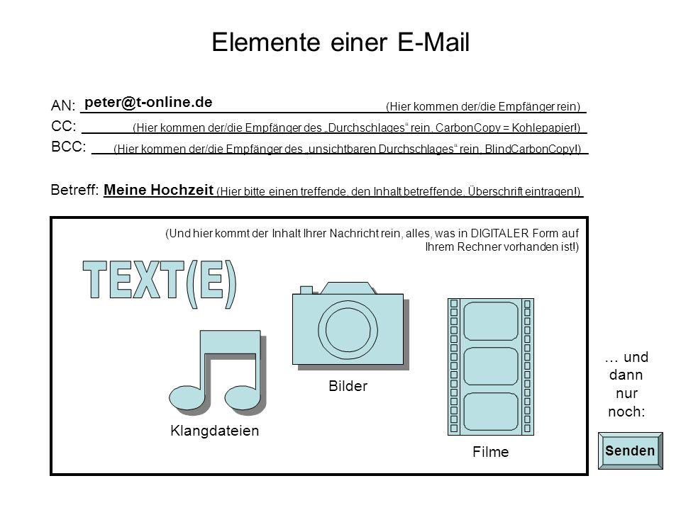 TEXT(E) Elemente einer E-Mail