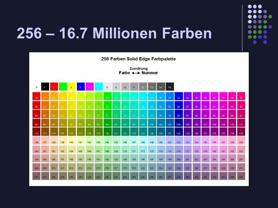 256 – 16.7 Millionen Farben