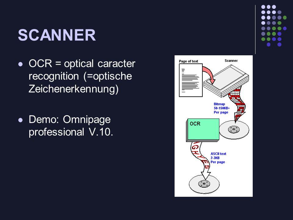 SCANNEROCR = optical caracter recognition (=optische Zeichenerkennung) Demo: Omnipage professional V.10.