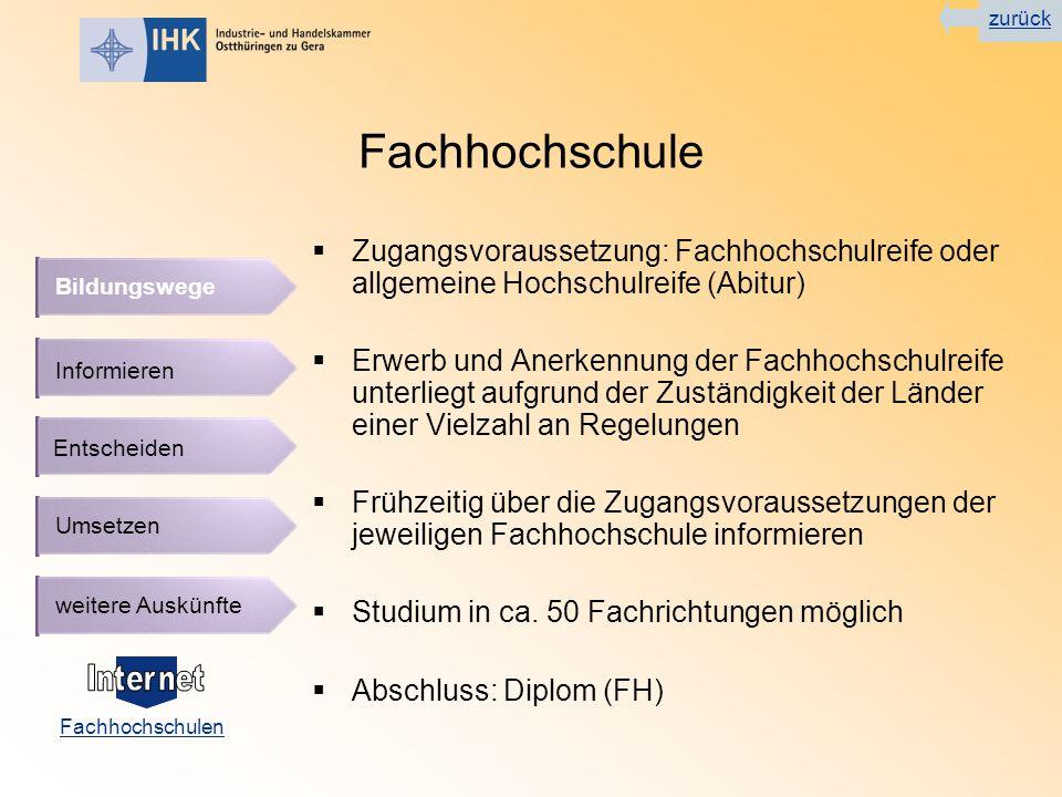 zurück Fachhochschule. Zugangsvoraussetzung: Fachhochschulreife oder allgemeine Hochschulreife (Abitur)