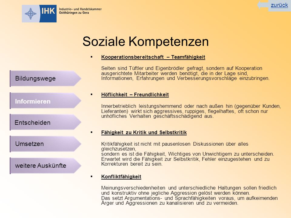 Soziale Kompetenzen Bildungswege Informieren Entscheiden Umsetzen