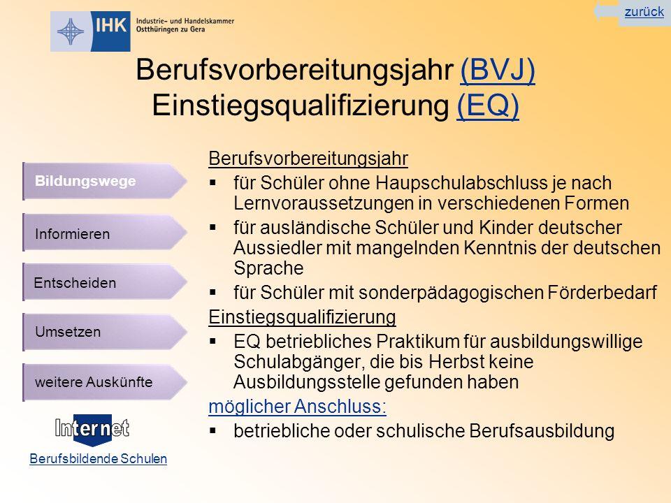 Berufsvorbereitungsjahr (BVJ) Einstiegsqualifizierung (EQ)