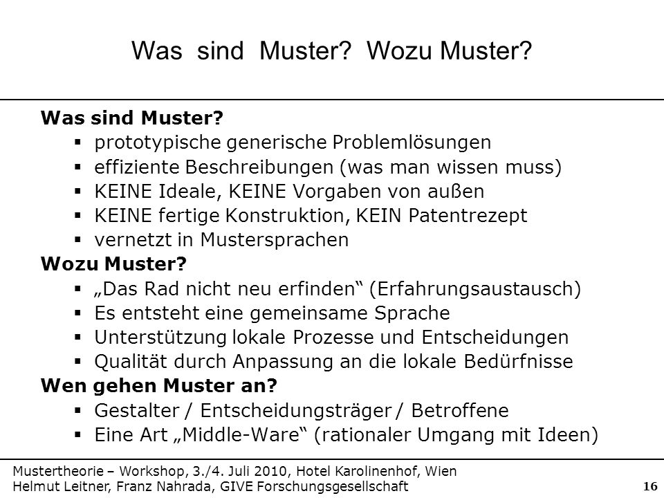 Was sind Muster Wozu Muster