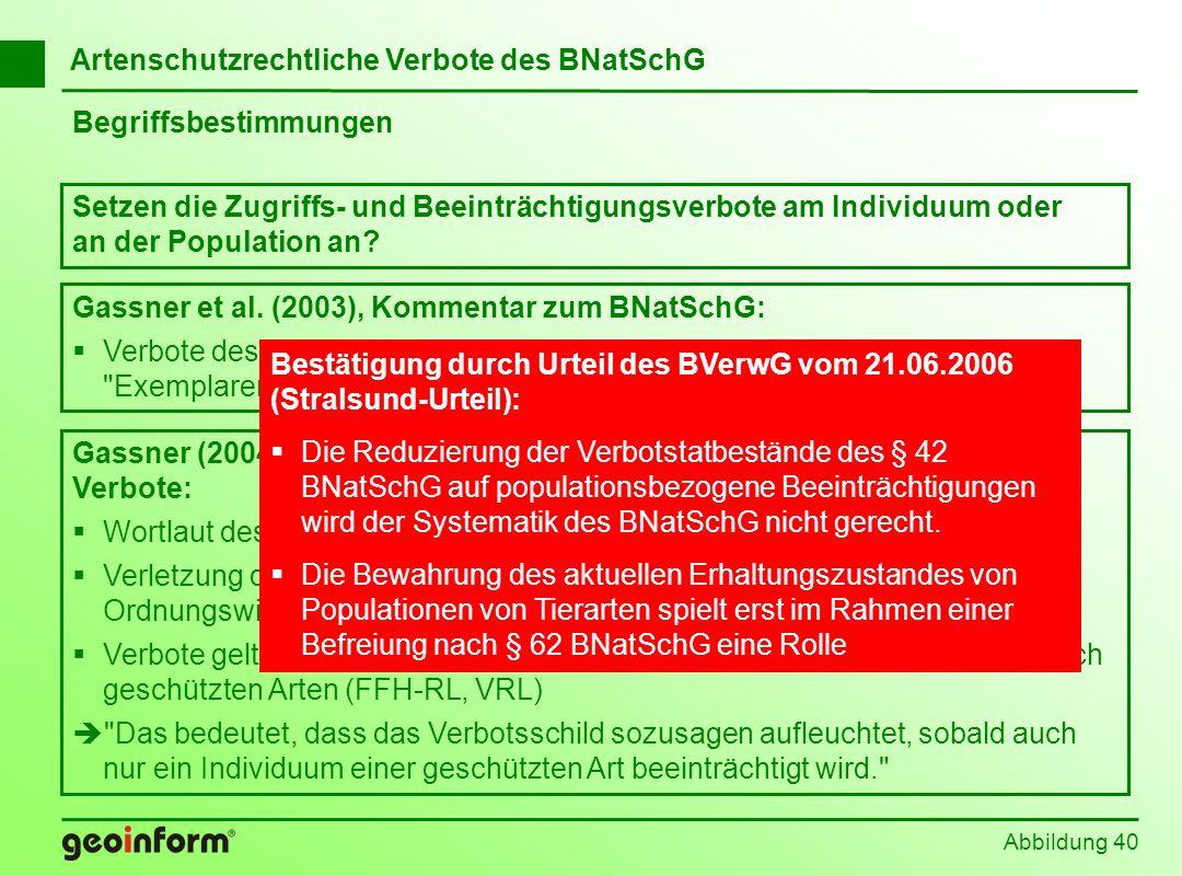 Artenschutzrechtliche Verbote des BNatSchG