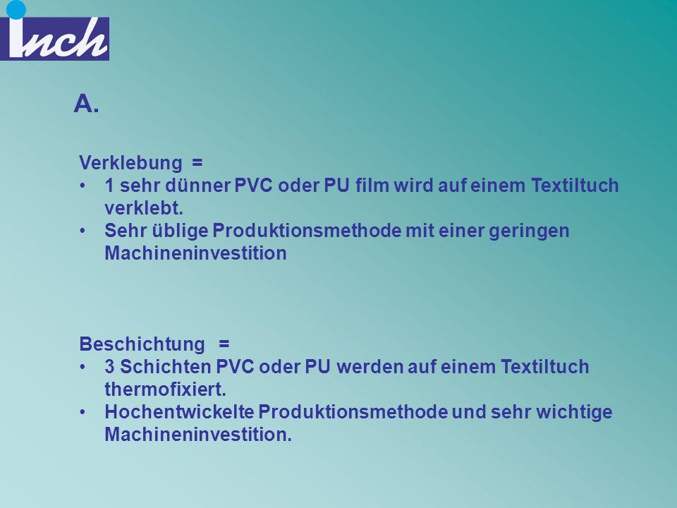 A. Verklebung = 1 sehr dünner PVC oder PU film wird auf einem Textiltuch verklebt.