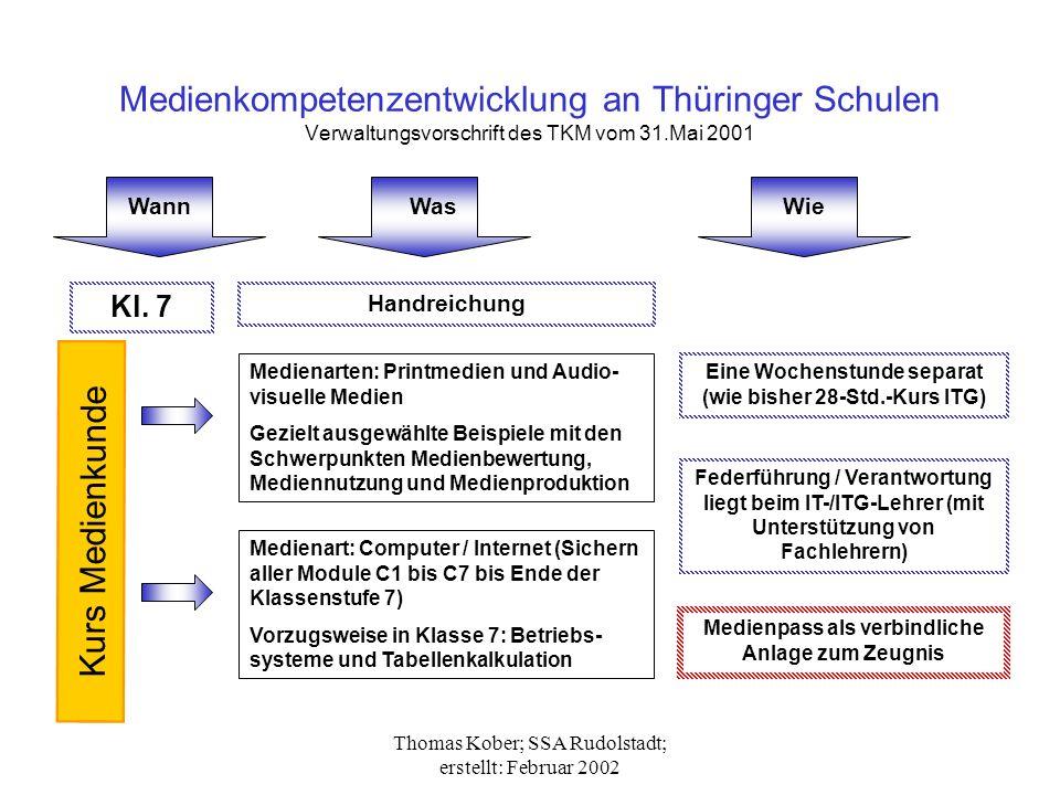 Medienkompetenzentwicklung an Thüringer Schulen Verwaltungsvorschrift des TKM vom 31.Mai 2001