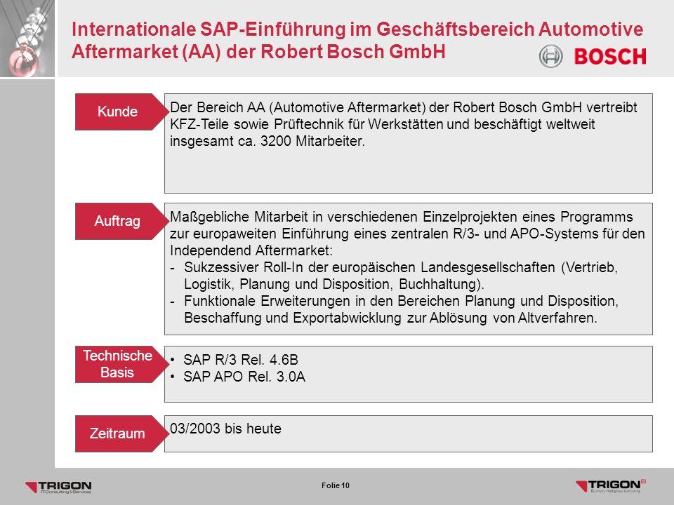 Internationale SAP-Einführung im Geschäftsbereich Automotive Aftermarket (AA) der Robert Bosch GmbH