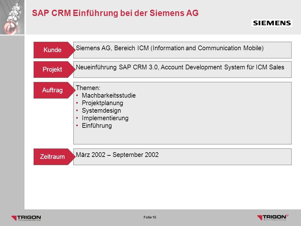 SAP CRM Einführung bei der Siemens AG