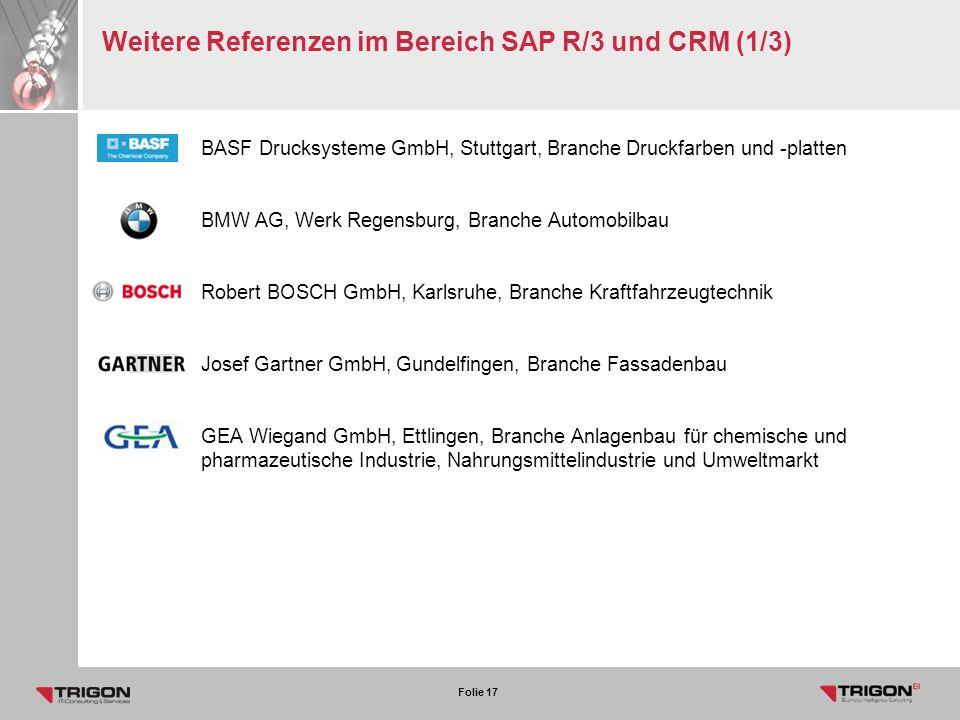 Weitere Referenzen im Bereich SAP R/3 und CRM (1/3)