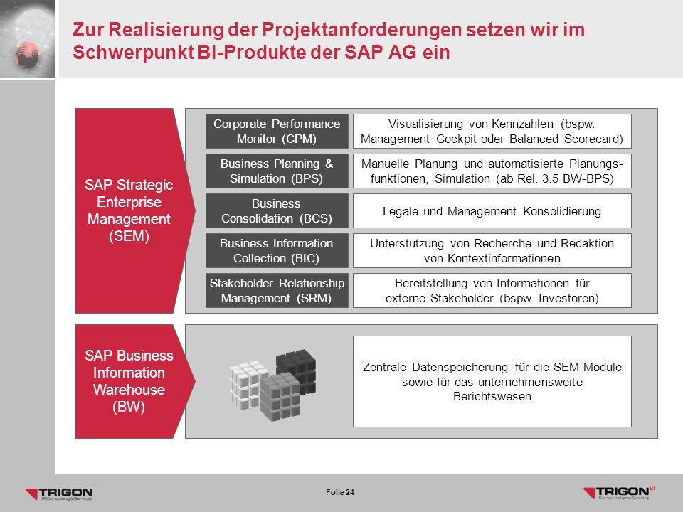 Zur Realisierung der Projektanforderungen setzen wir im Schwerpunkt BI-Produkte der SAP AG ein