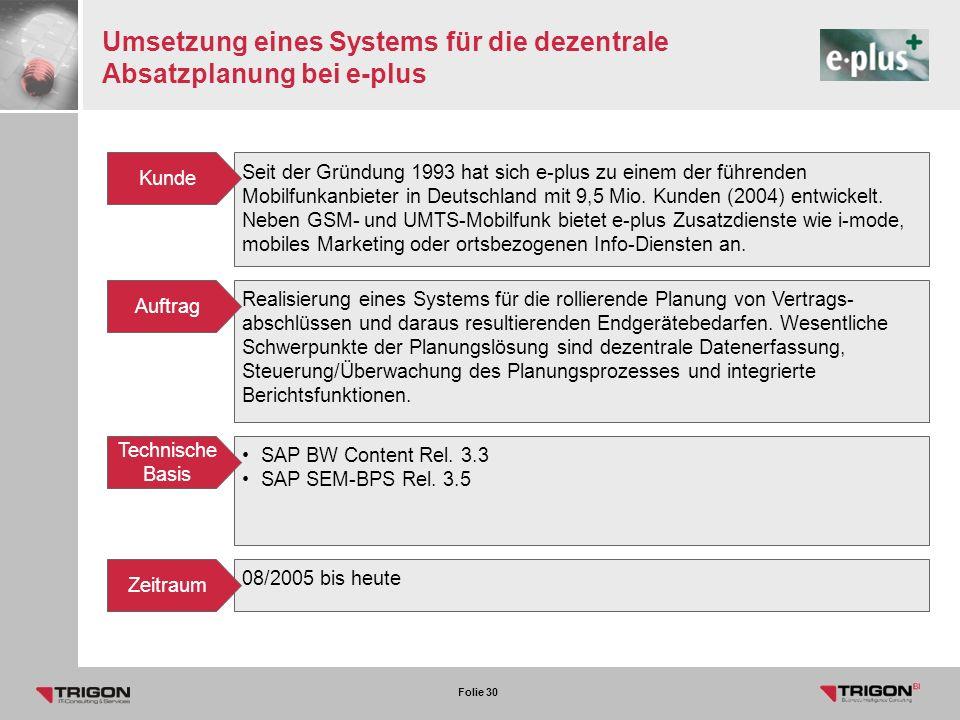 Umsetzung eines Systems für die dezentrale Absatzplanung bei e-plus