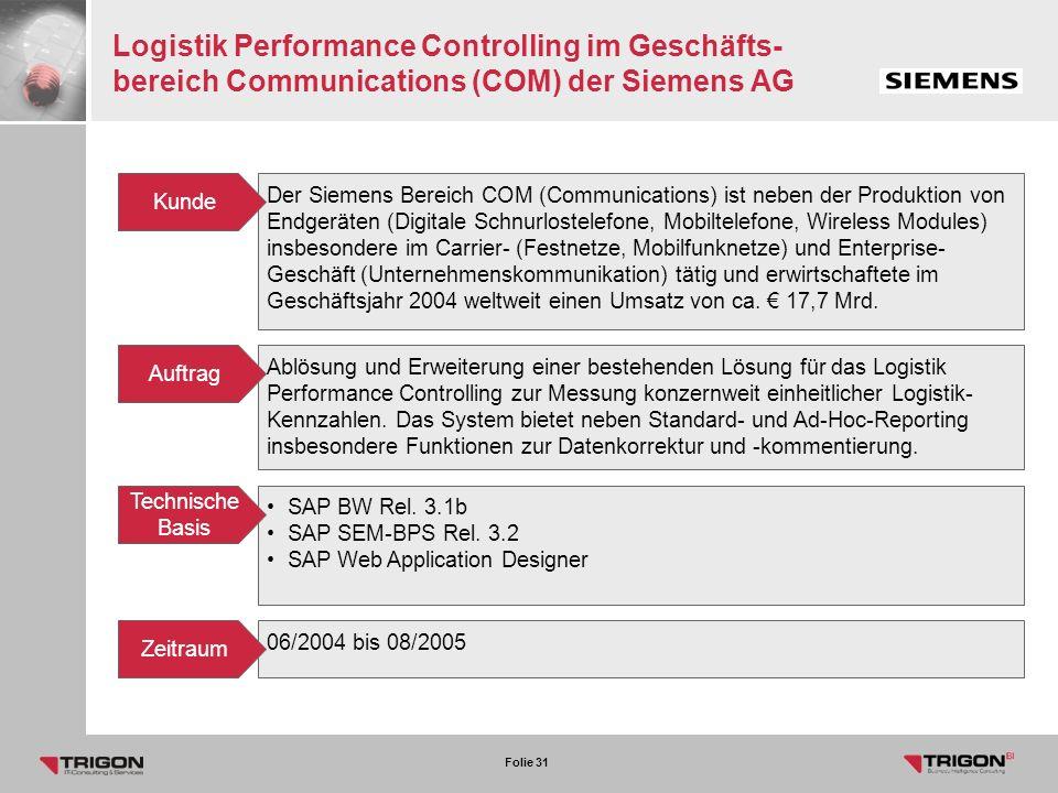 Logistik Performance Controlling im Geschäfts- bereich Communications (COM) der Siemens AG