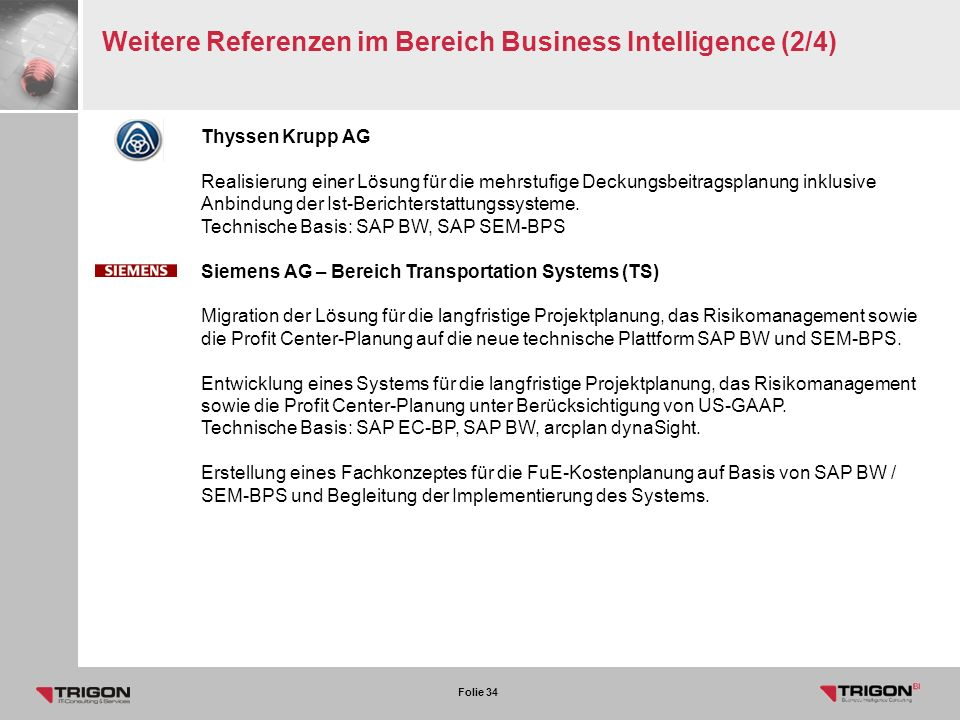 Weitere Referenzen im Bereich Business Intelligence (2/4)