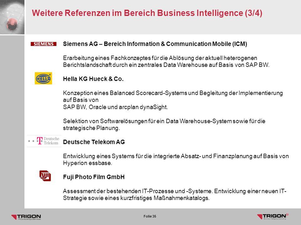 Weitere Referenzen im Bereich Business Intelligence (3/4)