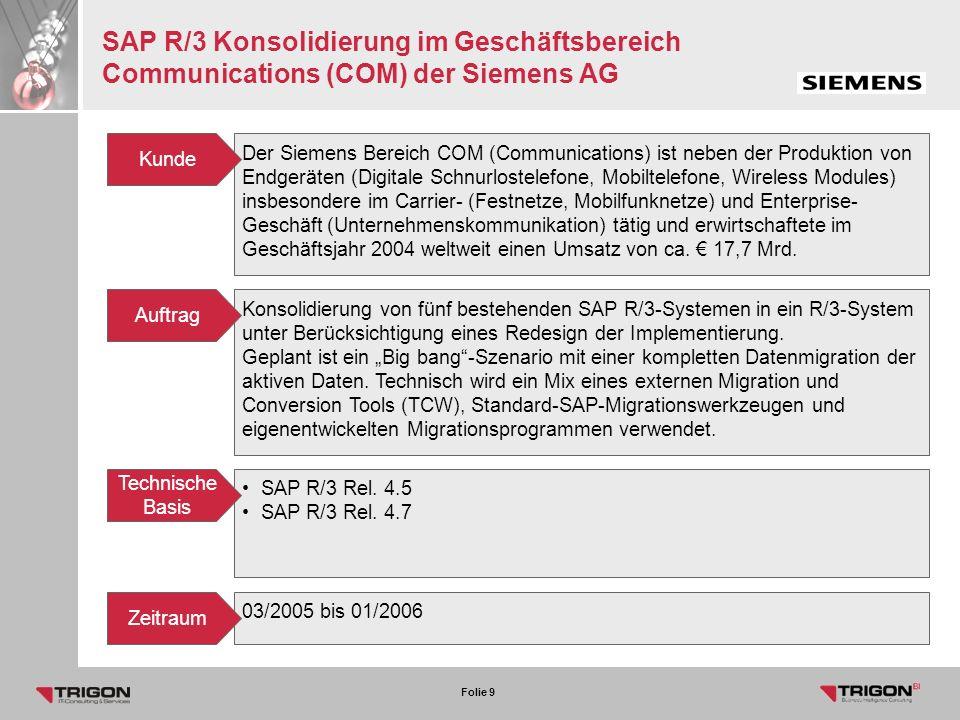 SAP R/3 Konsolidierung im Geschäftsbereich Communications (COM) der Siemens AG