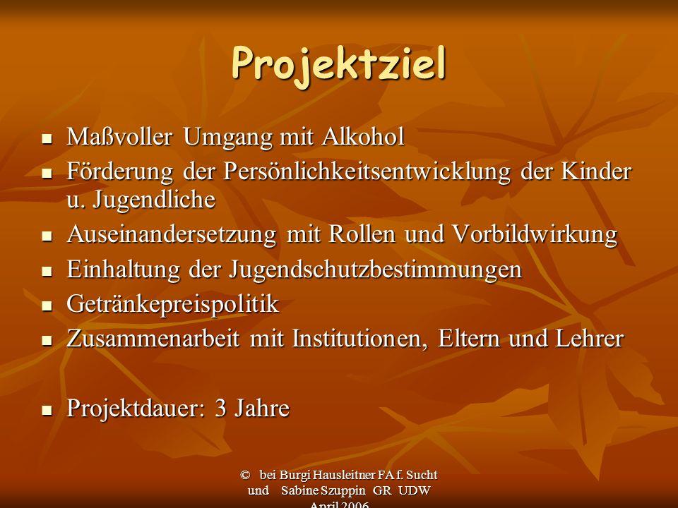 Projektziel Maßvoller Umgang mit Alkohol