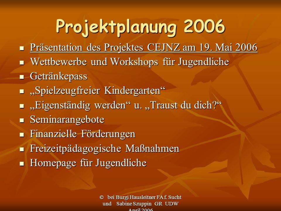 Projektplanung 2006 Präsentation des Projektes CEJNZ am 19. Mai 2006