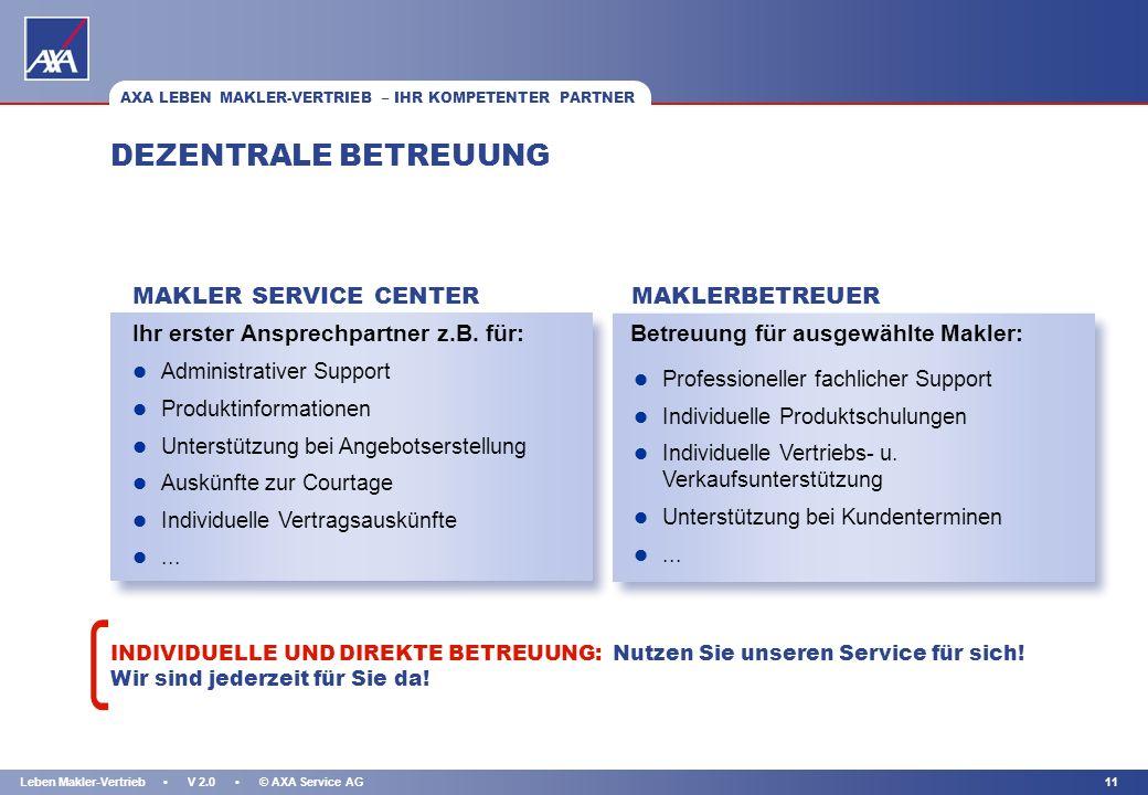 DEZENTRALE BETREUUNG MAKLER SERVICE CENTER MAKLERBETREUER