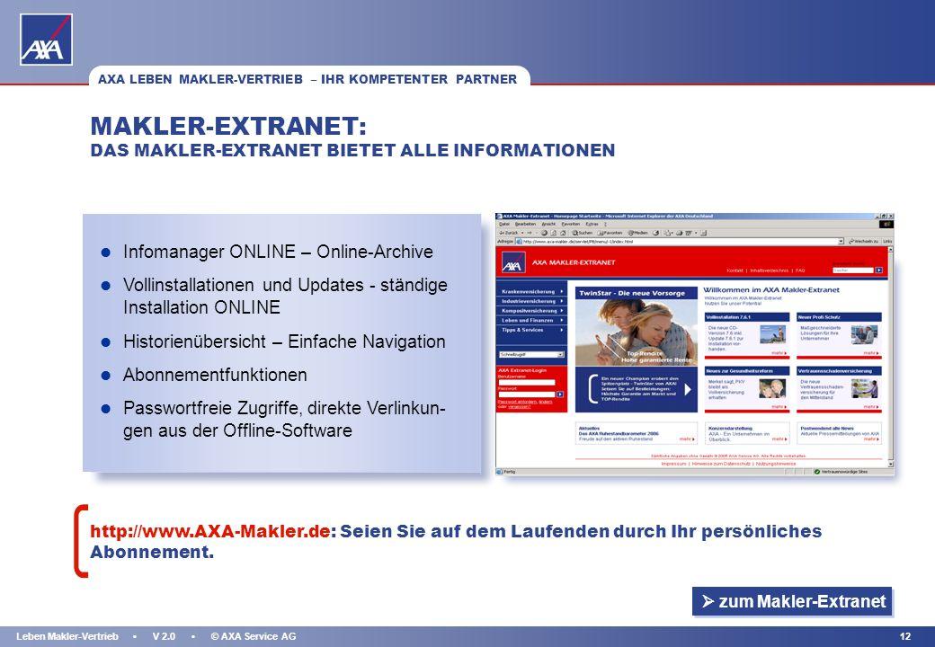 MAKLER-EXTRANET: DAS MAKLER-EXTRANET BIETET ALLE INFORMATIONEN