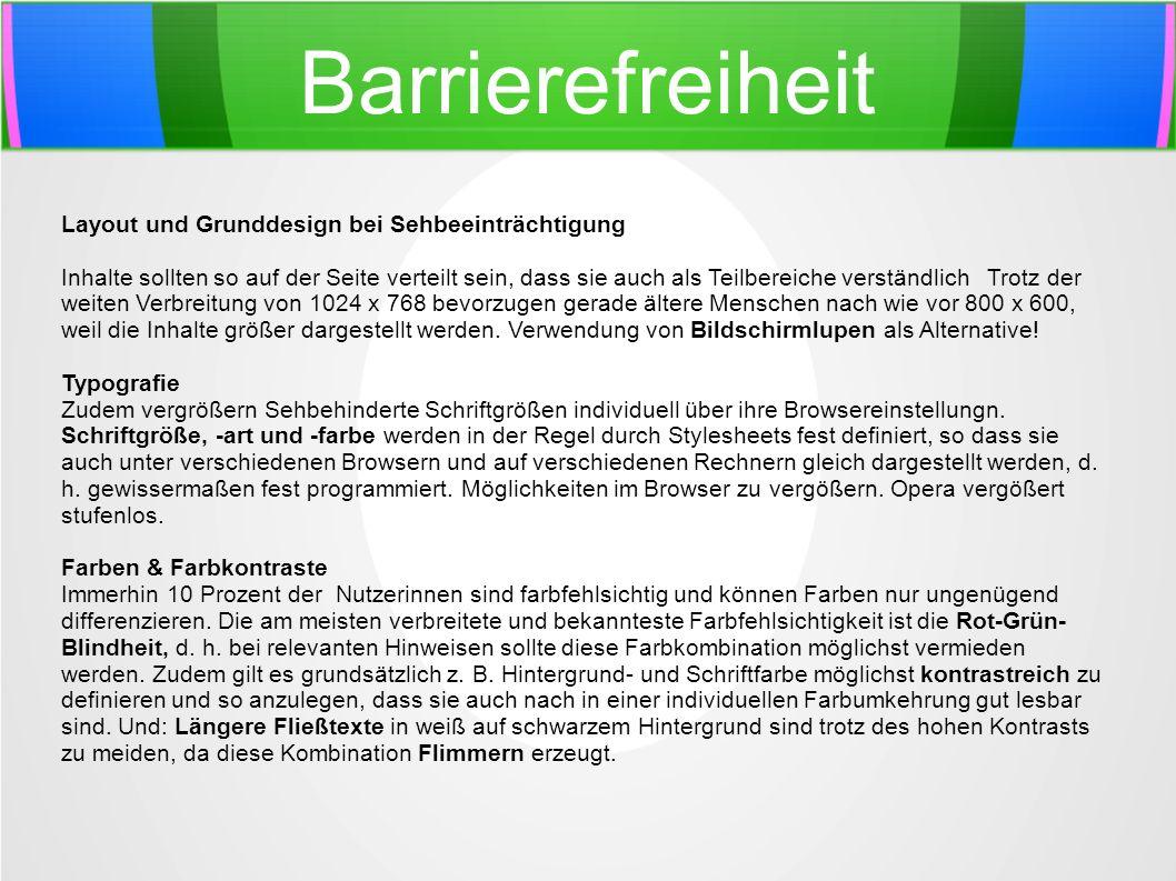 Barrierefreiheit Layout und Grunddesign bei Sehbeeinträchtigung
