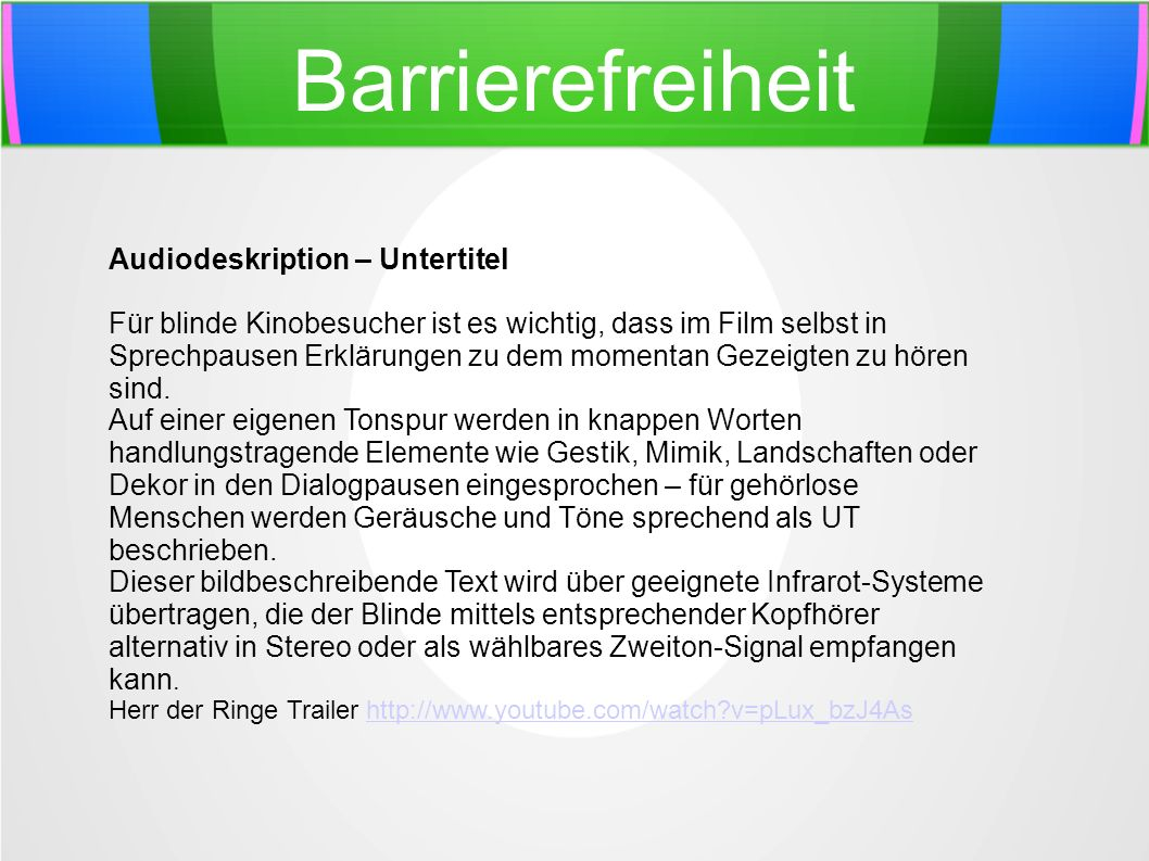 Barrierefreiheit Audiodeskription – Untertitel