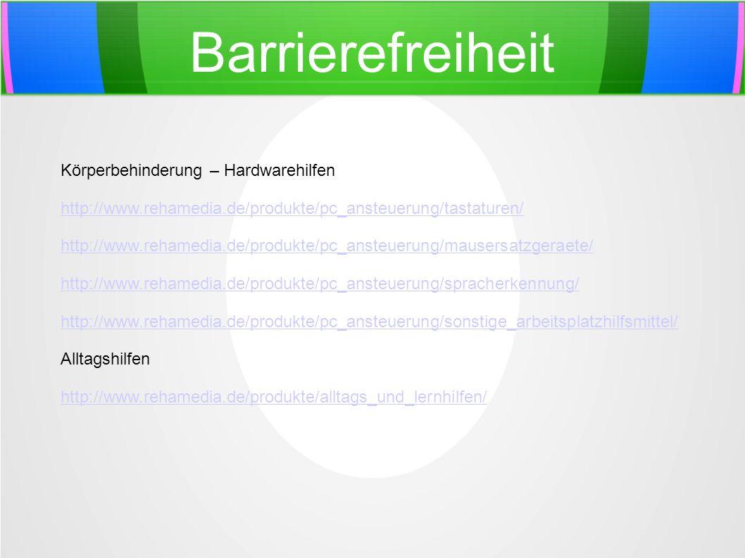 Barrierefreiheit Körperbehinderung – Hardwarehilfen