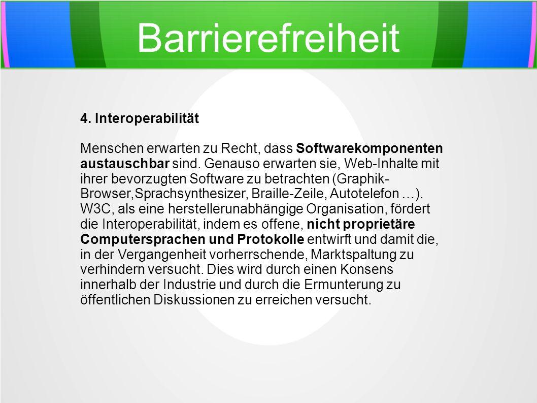 Barrierefreiheit 4. Interoperabilität