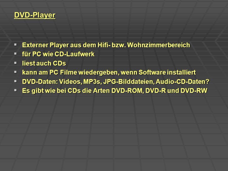 DVD-Player Externer Player aus dem Hifi- bzw. Wohnzimmerbereich