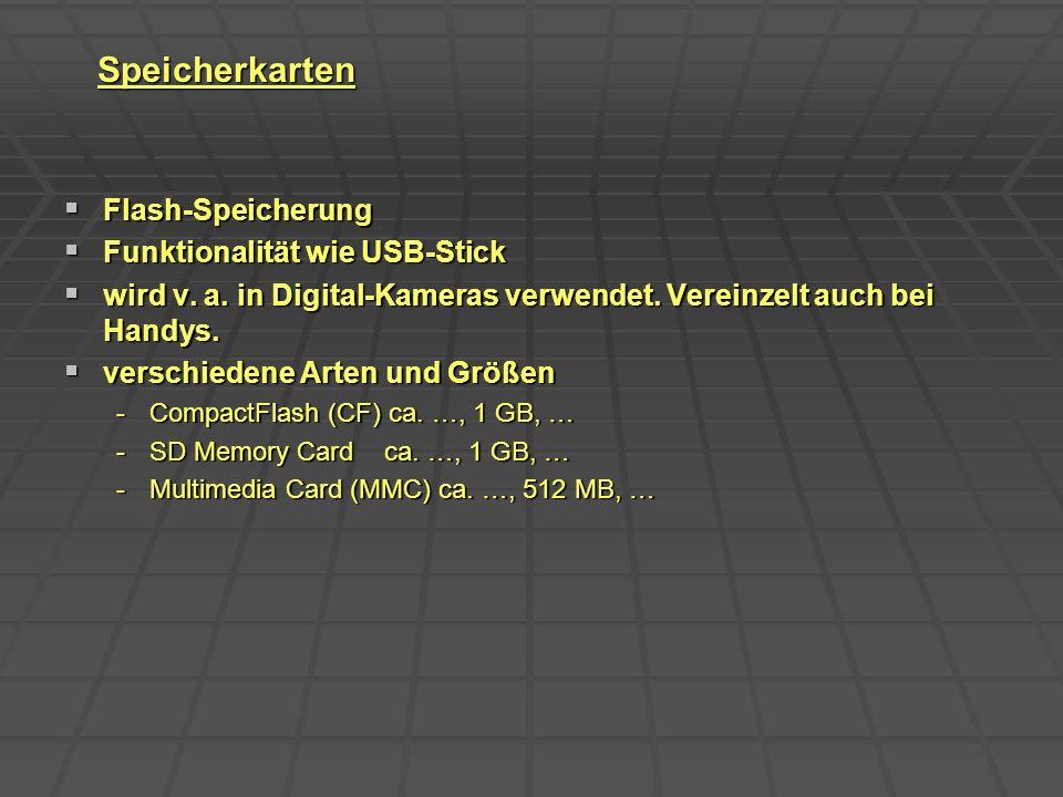 Speicherkarten Flash-Speicherung Funktionalität wie USB-Stick
