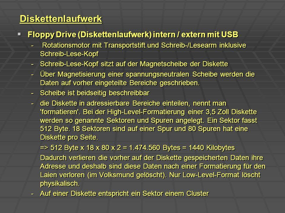 Diskettenlaufwerk Floppy Drive (Diskettenlaufwerk) intern / extern mit USB.