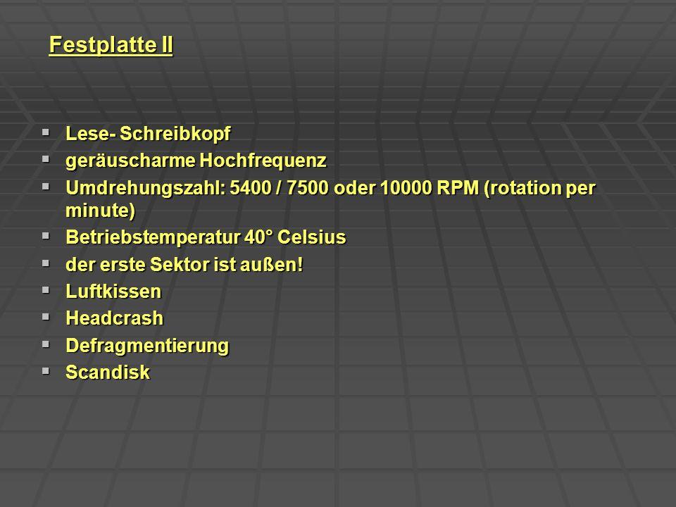 Festplatte II Lese- Schreibkopf geräuscharme Hochfrequenz
