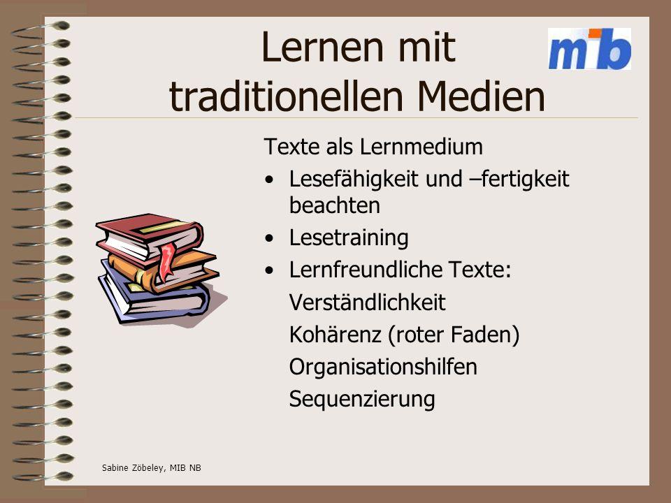 Lernen mit traditionellen Medien