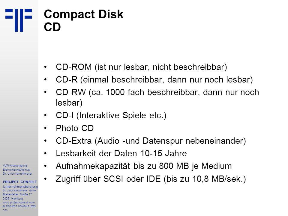 Compact Disk CD CD-ROM (ist nur lesbar, nicht beschreibbar)