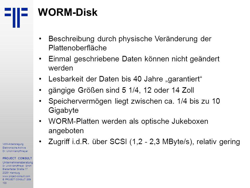 WORM-Disk Beschreibung durch physische Veränderung der Plattenoberfläche. Einmal geschriebene Daten können nicht geändert werden.