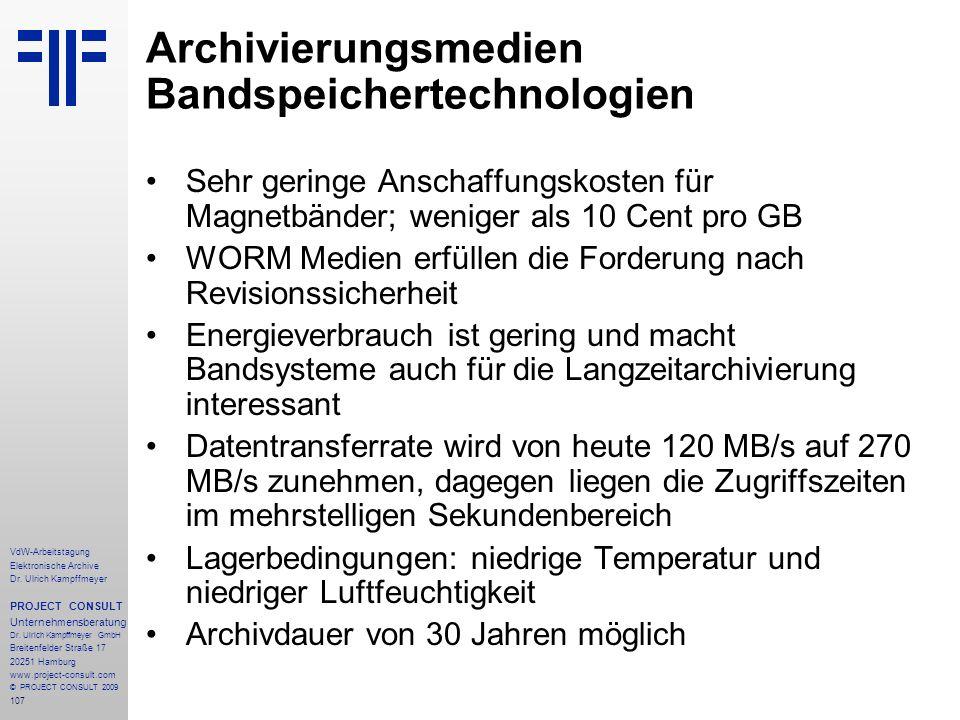 Archivierungsmedien Bandspeichertechnologien