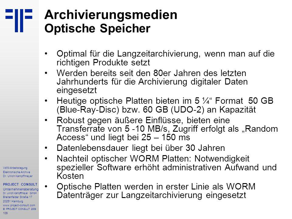 Archivierungsmedien Optische Speicher