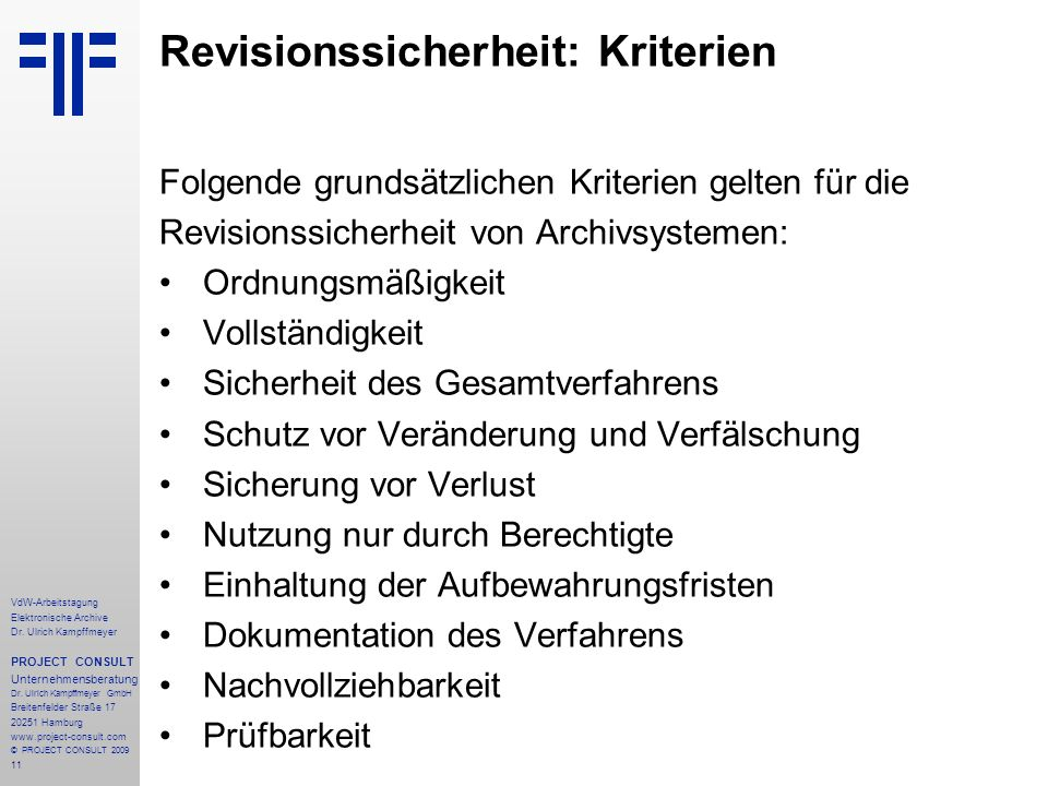 Revisionssicherheit: Kriterien