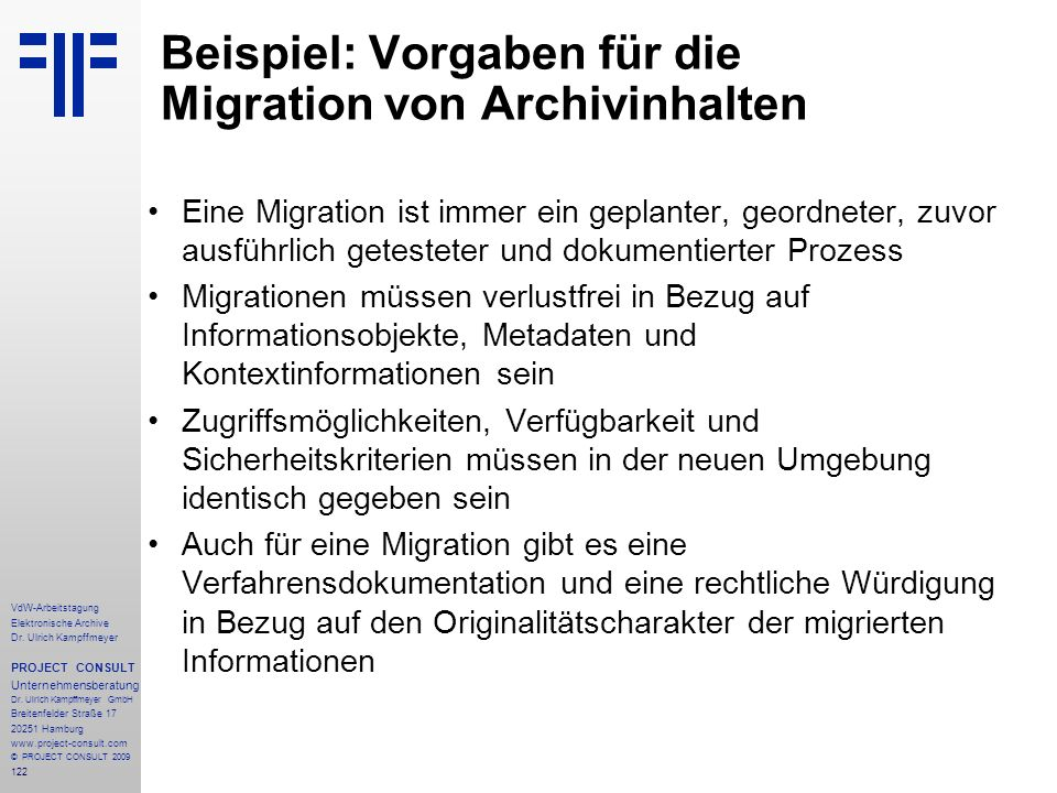 Beispiel: Vorgaben für die Migration von Archivinhalten