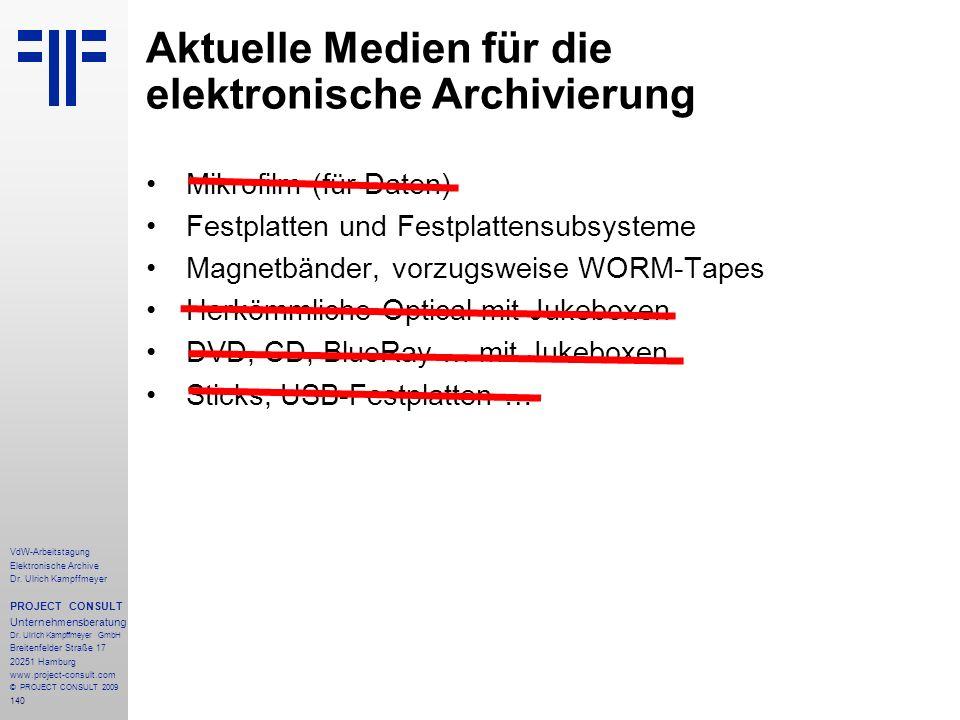 Aktuelle Medien für die elektronische Archivierung