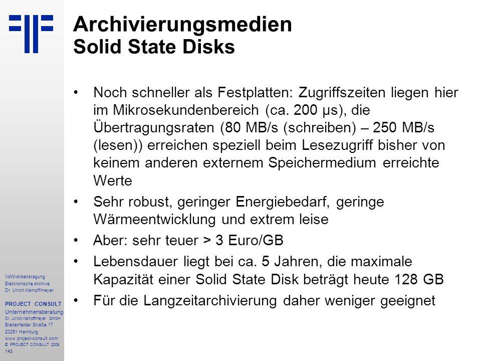 Archivierungsmedien Solid State Disks